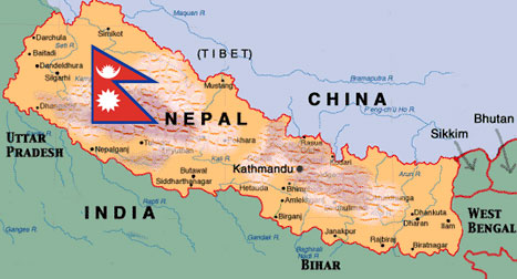 Where is Nepal located on the World Map - Here is Nepal !